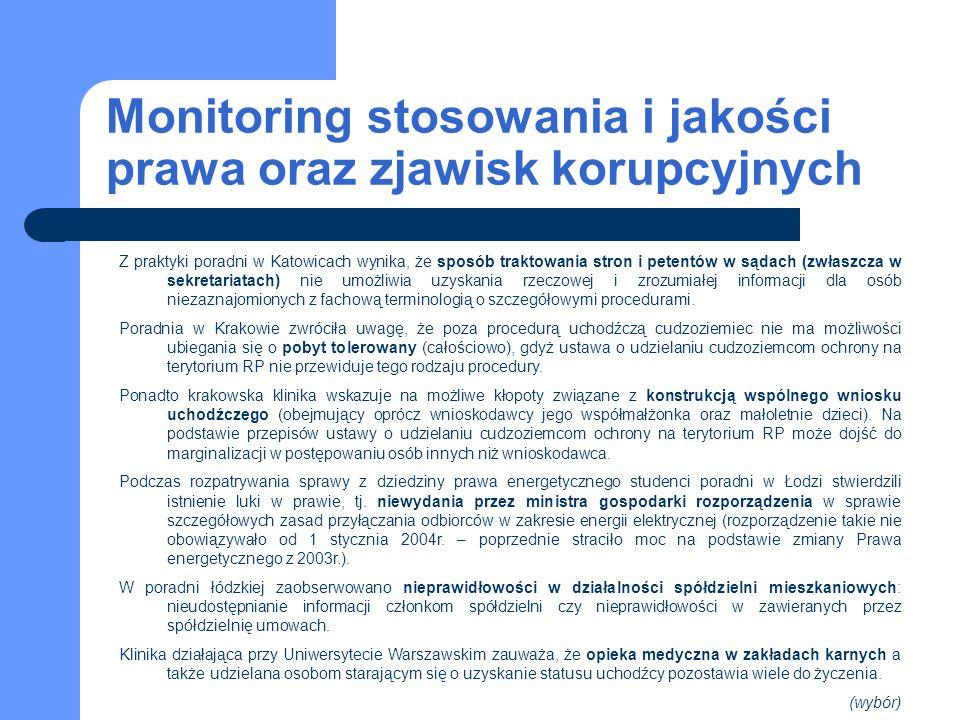Monitoring stosowania i jakości prawa oraz zjawisk korupcyjnych Z praktyki poradni w Katowicach wynika, że sposób traktowania stron i petentów w sądach (zwłaszcza w sekretariatach) nie umożliwia uzyskania rzeczowej i zrozumiałej informacji dla osób niezaznajomionych z fachową terminologią o szczegółowymi procedurami.