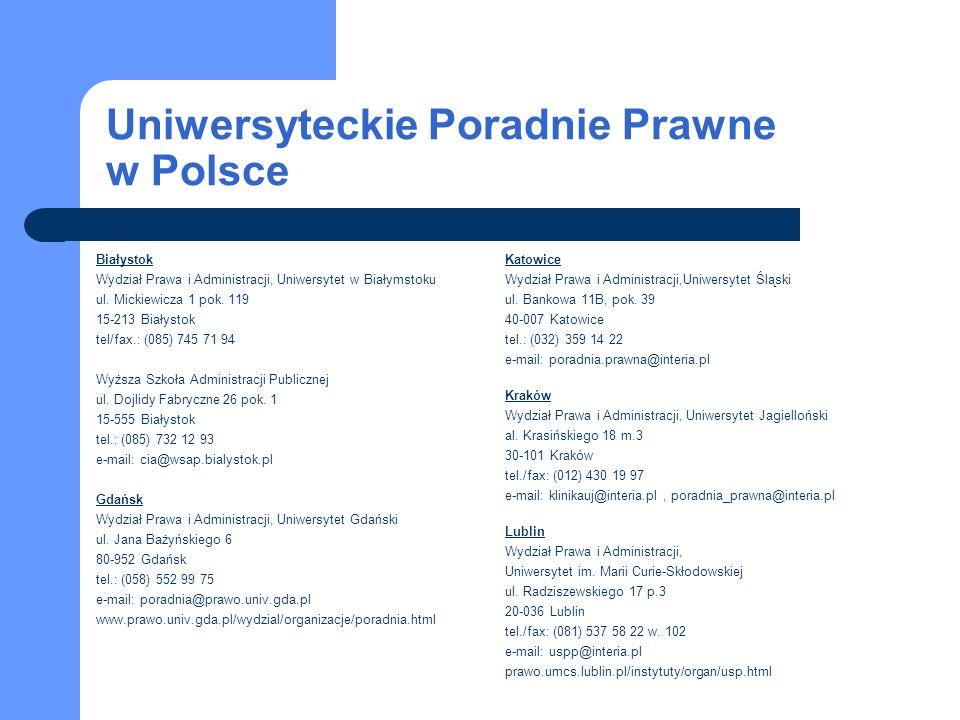 Uniwersyteckie Poradnie Prawne w Polsce Białystok Wydział Prawa i Administracji, Uniwersytet w Białymstoku ul.