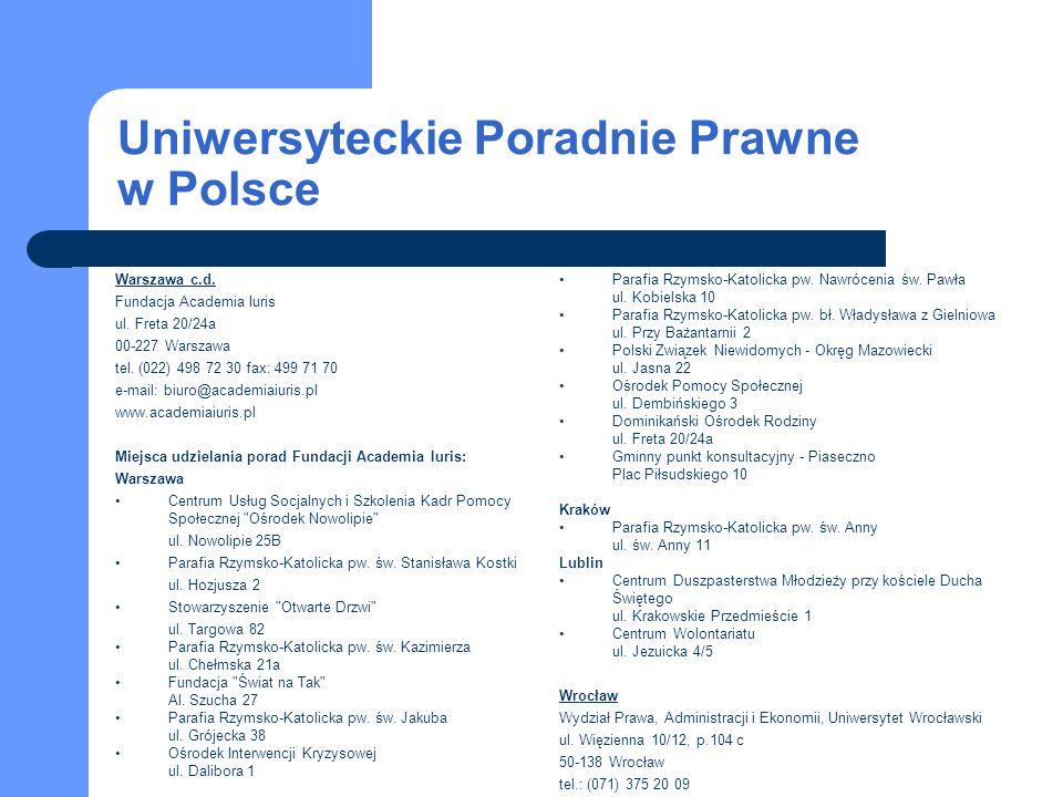 Uniwersyteckie Poradnie Prawne w Polsce Parafia Rzymsko-Katolicka pw.