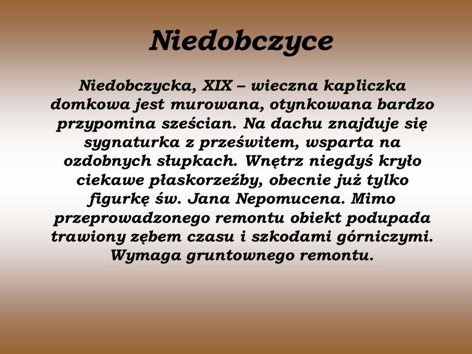 Niedobczyce Niedobczycka, XIX – wieczna kapliczka domkowa jest murowana, otynkowana bardzo przypomina sześcian. Na dachu znajduje się sygnaturka z prz