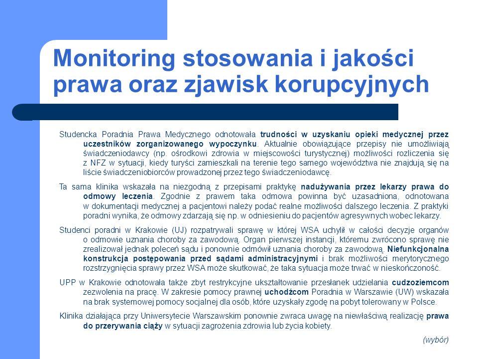 Monitoring stosowania i jakości prawa oraz zjawisk korupcyjnych Studencka Poradnia Prawa Medycznego odnotowała trudności w uzyskaniu opieki medycznej przez uczestników zorganizowanego wypoczynku.