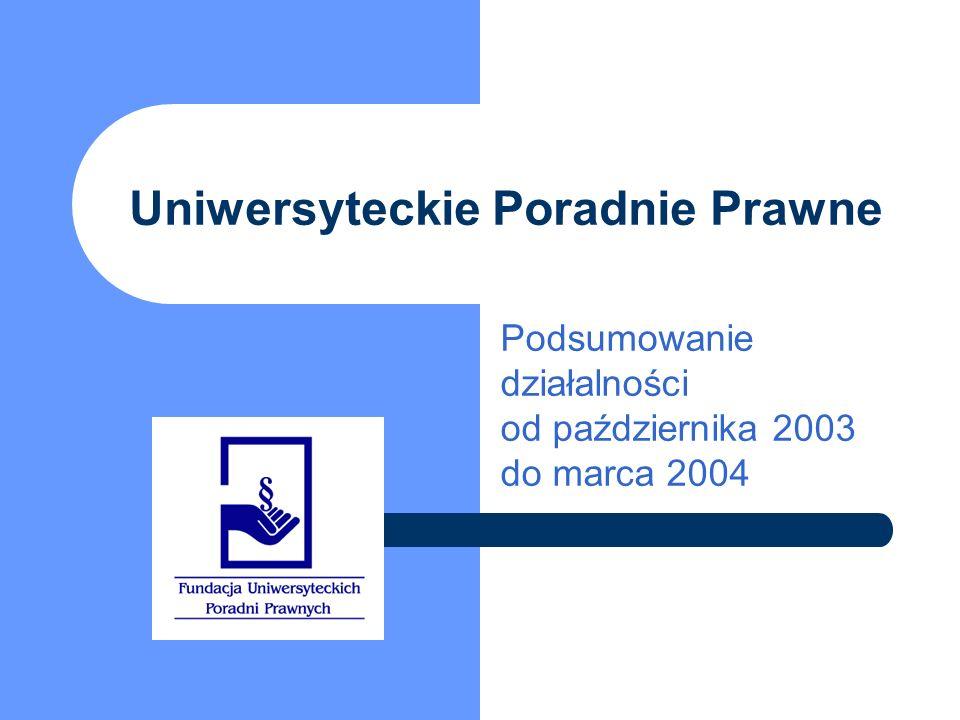 Uniwersyteckie Poradnie Prawne Podsumowanie działalności od października 2003 do marca 2004