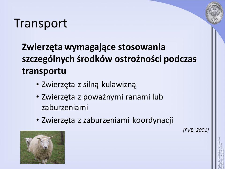 Transport Zwierzęta wymagające stosowania szczególnych środków ostrożności podczas transportu Zwierzęta z silną kulawizną Zwierzęta z poważnymi ranami