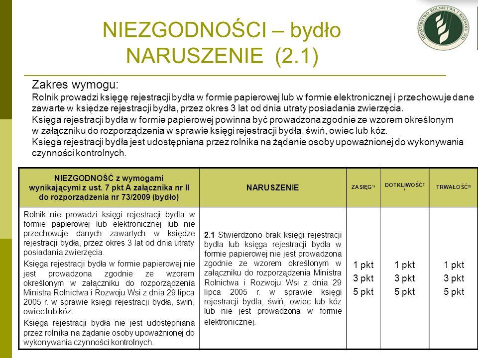 NIEZGODNOŚCI – bydło NARUSZENIE (2.1) NIEZGODNOŚĆ z wymogami wynikającymi z ust. 7 pkt A załącznika nr II do rozporządzenia nr 73/2009 (bydło) NARUSZE