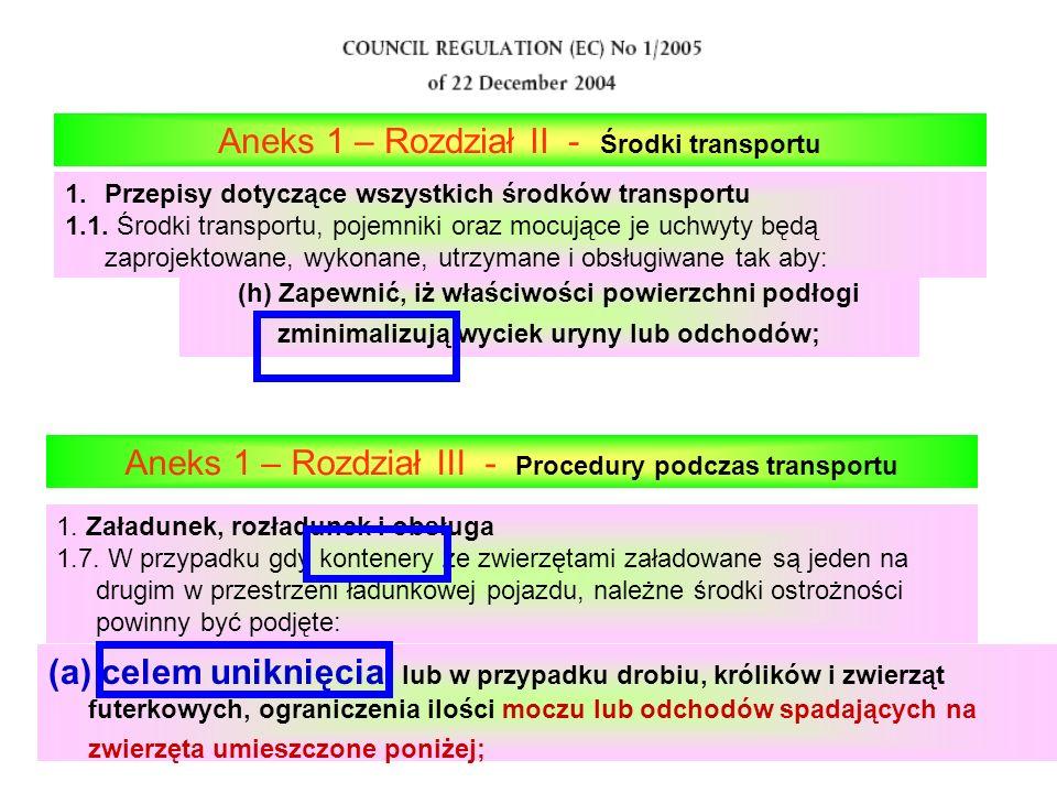 (h) Zapewnić, iż właściwości powierzchni podłogi zminimalizują wyciek uryny lub odchodów; Aneks 1 – Rozdział II - Środki transportu 1.Przepisy dotyczą