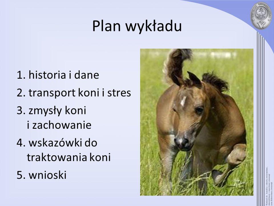 Plan wykładu 1. historia i dane 2. transport koni i stres 3. zmysły koni i zachowanie 4. wskazówki do traktowania koni 5. wnioski