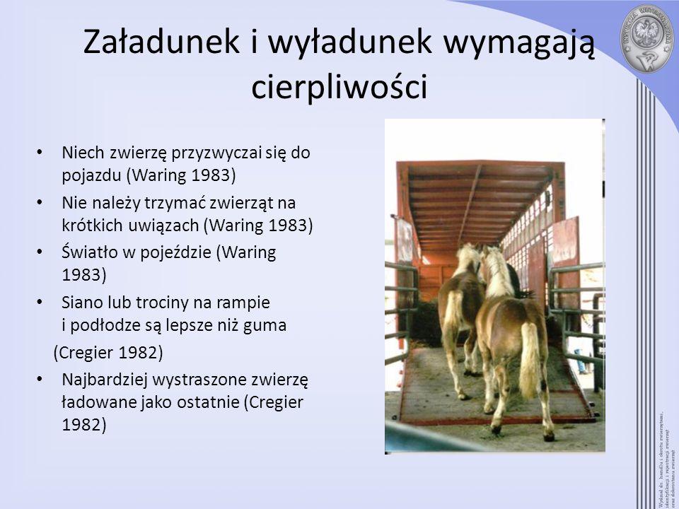 Załadunek i wyładunek wymagają cierpliwości Niech zwierzę przyzwyczai się do pojazdu (Waring 1983) Nie należy trzymać zwierząt na krótkich uwiązach (W