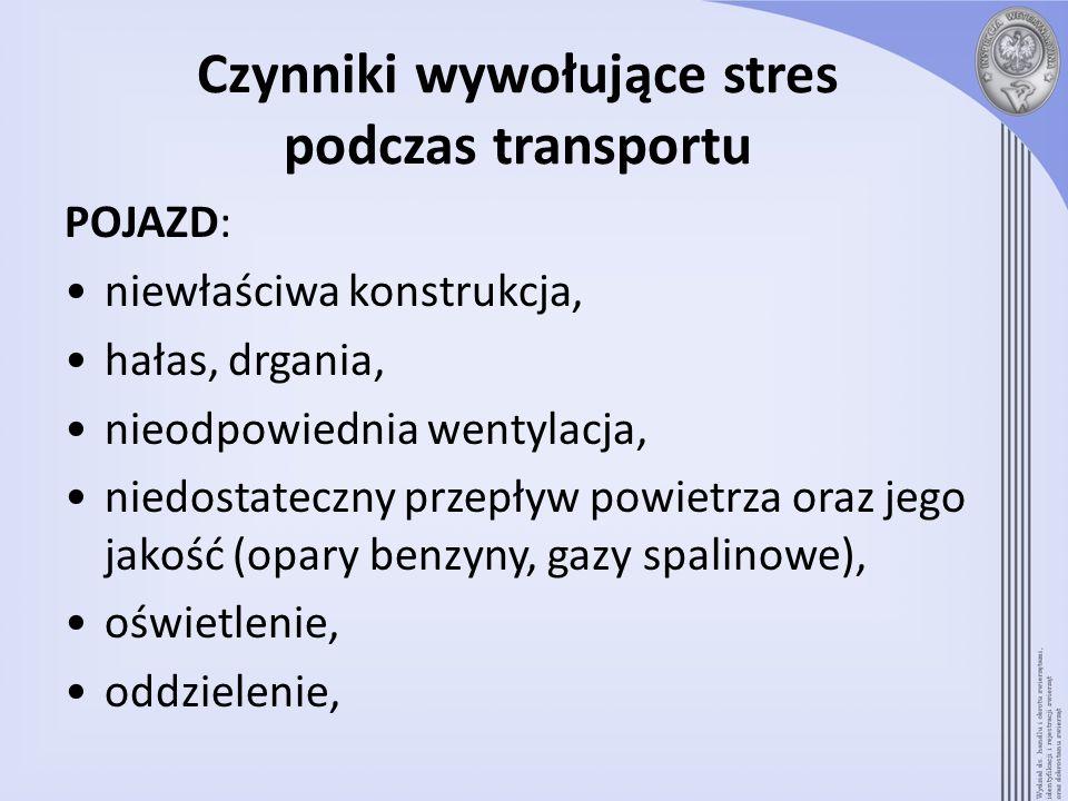 Czynniki wywołujące stres podczas transportu POJAZD: niewłaściwa konstrukcja, hałas, drgania, nieodpowiednia wentylacja, niedostateczny przepływ powie