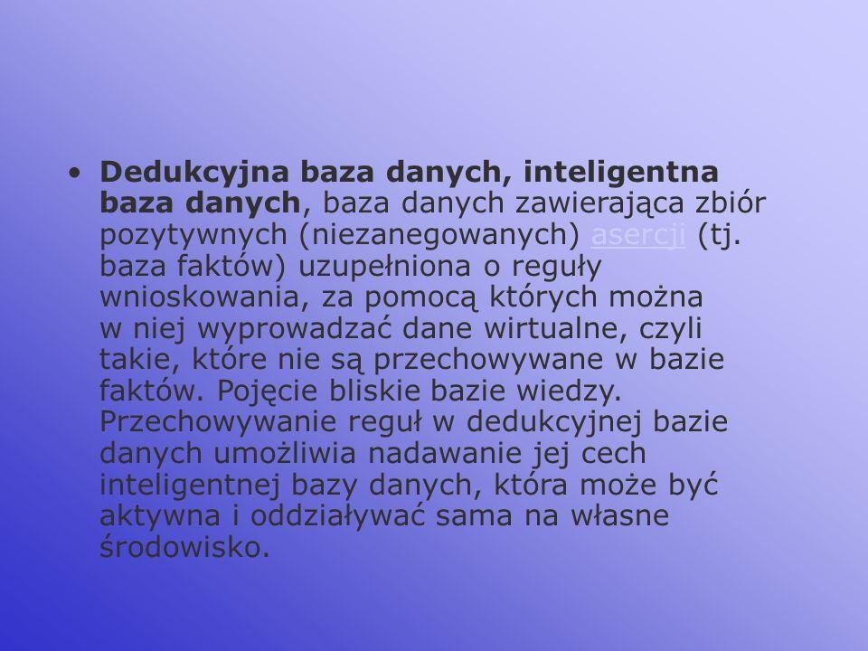 Dedukcyjna baza danych, inteligentna baza danych, baza danych zawierająca zbiór pozytywnych (niezanegowanych) asercji (tj. baza faktów) uzupełniona o