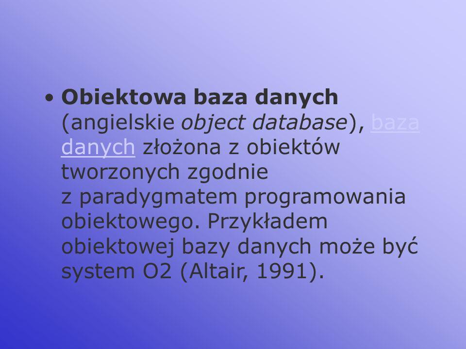 Obiektowa baza danych (angielskie object database), baza danych złożona z obiektów tworzonych zgodnie z paradygmatem programowania obiektowego. Przykł