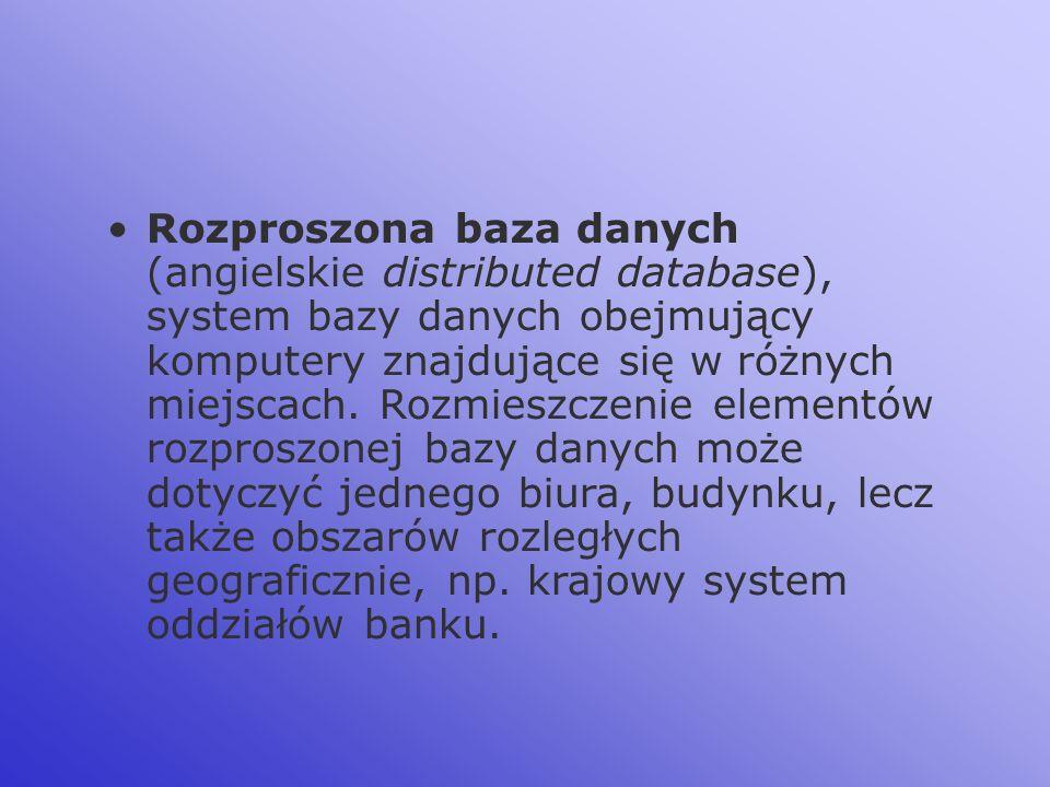 Rozproszona baza danych (angielskie distributed database), system bazy danych obejmujący komputery znajdujące się w różnych miejscach. Rozmieszczenie