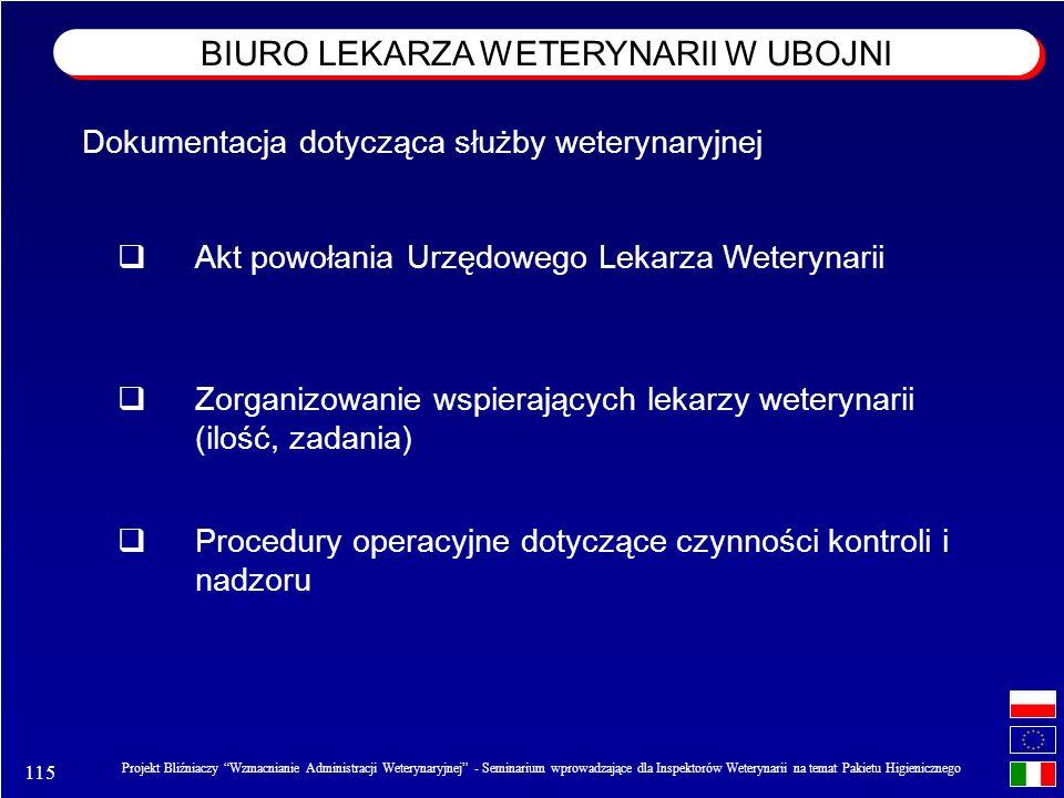 115 Projekt Bliźniaczy Wzmacnianie Administracji Weterynaryjnej - Seminarium wprowadzające dla Inspektorów Weterynarii na temat Pakietu Higienicznego