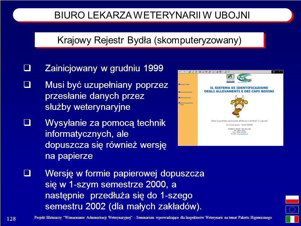 128 Projekt Bliźniaczy Wzmacnianie Administracji Weterynaryjnej - Seminarium wprowadzające dla Inspektorów Weterynarii na temat Pakietu Higienicznego Zainicjowany w grudniu 1999 Musi być uzupełniany poprzez przesłanie danych przez służby weterynaryjne Wysyłanie za pomocą technik informatycznych, ale dopuszcza się również wersję na papierze Wersję w formie papierowej dopuszcza się w 1-szym semestrze 2000, a następnie przedłuża się do 1-szego semestru 2002 (dla małych zakładów).