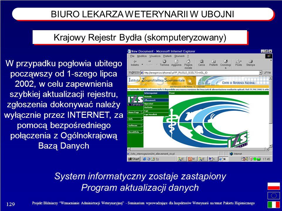 129 Projekt Bliźniaczy Wzmacnianie Administracji Weterynaryjnej - Seminarium wprowadzające dla Inspektorów Weterynarii na temat Pakietu Higienicznego W przypadku pogłowia ubitego począwszy od 1-szego lipca 2002, w celu zapewnienia szybkiej aktualizacji rejestru, zgłoszenia dokonywać należy wyłącznie przez INTERNET, za pomocą bezpośredniego połączenia z Ogólnokrajową Bazą Danych System informatyczny zostaje zastąpiony Program aktualizacji danych Krajowy Rejestr Bydła (skomputeryzowany) BIURO LEKARZA WETERYNARII W UBOJNI