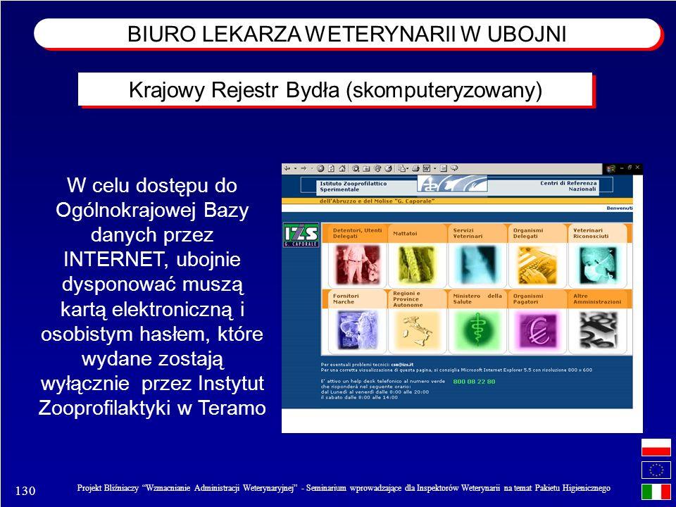 130 Projekt Bliźniaczy Wzmacnianie Administracji Weterynaryjnej - Seminarium wprowadzające dla Inspektorów Weterynarii na temat Pakietu Higienicznego W celu dostępu do Ogólnokrajowej Bazy danych przez INTERNET, ubojnie dysponować muszą kartą elektroniczną i osobistym hasłem, które wydane zostają wyłącznie przez Instytut Zooprofilaktyki w Teramo Krajowy Rejestr Bydła (skomputeryzowany) BIURO LEKARZA WETERYNARII W UBOJNI