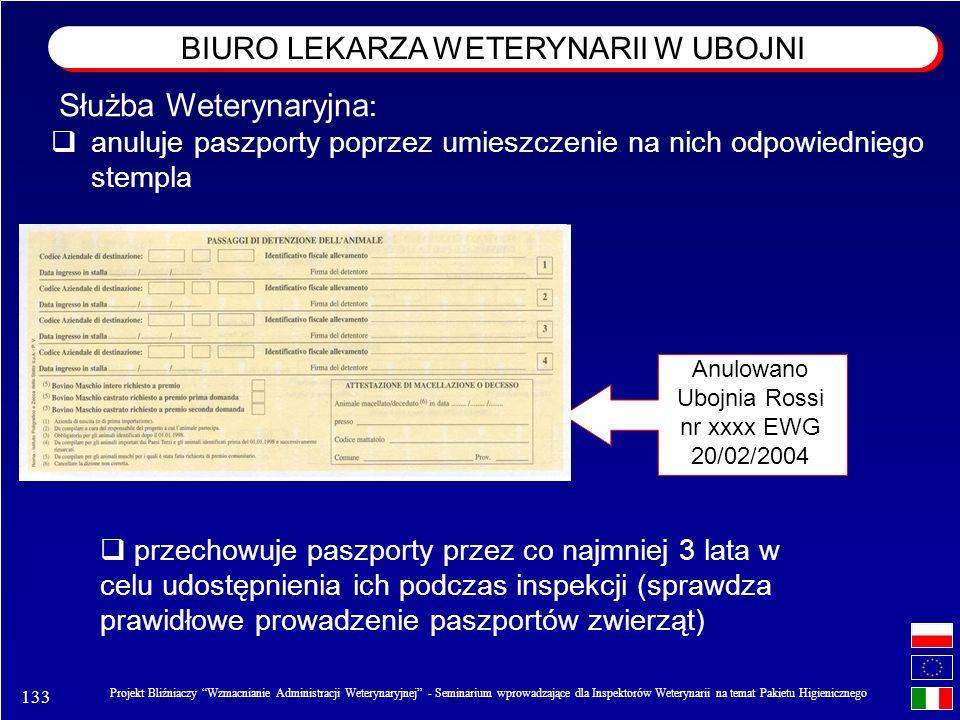 133 Projekt Bliźniaczy Wzmacnianie Administracji Weterynaryjnej - Seminarium wprowadzające dla Inspektorów Weterynarii na temat Pakietu Higienicznego anuluje paszporty poprzez umieszczenie na nich odpowiedniego stempla Anulowano Ubojnia Rossi nr xxxx EWG 20/02/2004 przechowuje paszporty przez co najmniej 3 lata w celu udostępnienia ich podczas inspekcji (sprawdza prawidłowe prowadzenie paszportów zwierząt) Służba Weterynaryjna : BIURO LEKARZA WETERYNARII W UBOJNI
