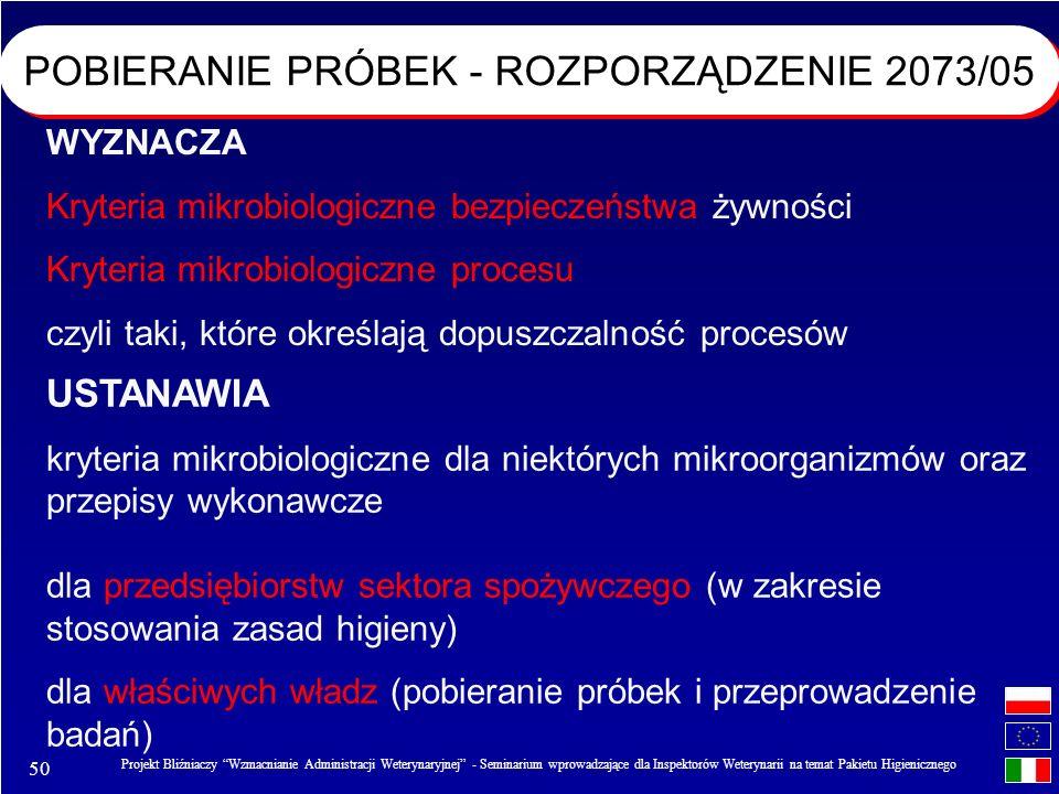 50 Projekt Bliźniaczy Wzmacnianie Administracji Weterynaryjnej - Seminarium wprowadzające dla Inspektorów Weterynarii na temat Pakietu Higienicznego POBIERANIE PRÓBEK - ROZPORZĄDZENIE 2073/05 WYZNACZA Kryteria mikrobiologiczne bezpieczeństwa żywności Kryteria mikrobiologiczne procesu czyli taki, które określają dopuszczalność procesów USTANAWIA kryteria mikrobiologiczne dla niektórych mikroorganizmów oraz przepisy wykonawcze dla przedsiębiorstw sektora spożywczego (w zakresie stosowania zasad higieny) dla właściwych władz (pobieranie próbek i przeprowadzenie badań)