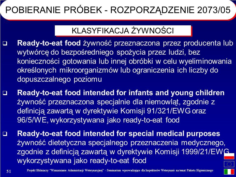51 Projekt Bliźniaczy Wzmacnianie Administracji Weterynaryjnej - Seminarium wprowadzające dla Inspektorów Weterynarii na temat Pakietu Higienicznego Ready-to-eat food żywność przeznaczona przez producenta lub wytwórcę do bezpośredniego spożycia przez ludzi, bez konieczności gotowania lub innej obróbki w celu wyeliminowania określonych mikroorganizmów lub ograniczenia ich liczby do dopuszczalnego poziomu Ready-to-eat food intended for infants and young children żywność przeznaczona specjalnie dla niemowląt, zgodnie z definicją zawartą w dyrektywie Komisji 91/321/EWG oraz 96/5/WE, wykorzystywana jako ready-to-eat food Ready-to-eat food intended for special medical purposes żywność dietetyczna specjalnego przeznaczenia medycznego, zgodnie z definicją zawartą w dyrektywie Komisji 1999/21/EWG, wykorzystywana jako ready-to-eat food KLASYFIKACJA ŻYWNOŚCI POBIERANIE PRÓBEK - ROZPORZĄDZENIE 2073/05