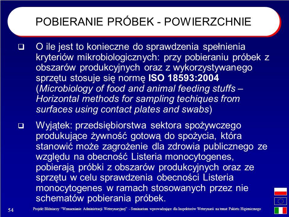 54 Projekt Bliźniaczy Wzmacnianie Administracji Weterynaryjnej - Seminarium wprowadzające dla Inspektorów Weterynarii na temat Pakietu Higienicznego O ile jest to konieczne do sprawdzenia spełnienia kryteriów mikrobiologicznych: przy pobieraniu próbek z obszarów produkcyjnych oraz z wykorzystywanego sprzętu stosuje się normę ISO 18593:2004 (Microbiology of food and animal feeding stuffs – Horizontal methods for sampling techiques from surfaces using contact plates and swabs) Wyjątek: przedsiębiorstwa sektora spożywczego produkujące żywność gotową do spożycia, która stanowić może zagrożenie dla zdrowia publicznego ze względu na obecność Listeria monocytogenes, pobierają próbki z obszarów produkcyjnych oraz ze sprzętu w celu sprawdzenia obecności Listeria monocytogenes w ramach stosowanych przez nie schematów pobierania próbek.