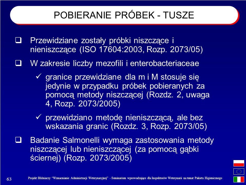 63 Projekt Bliźniaczy Wzmacnianie Administracji Weterynaryjnej - Seminarium wprowadzające dla Inspektorów Weterynarii na temat Pakietu Higienicznego Przewidziane zostały próbki niszczące i nieniszczące (ISO 17604:2003, Rozp.