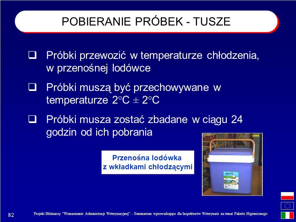82 Projekt Bliźniaczy Wzmacnianie Administracji Weterynaryjnej - Seminarium wprowadzające dla Inspektorów Weterynarii na temat Pakietu Higienicznego Przenośna lodówka z wkładkami chłodzącymi Próbki przewozić w temperaturze chłodzenia, w przenośnej lodówce Próbki muszą być przechowywane w temperaturze 2°C ± 2°C Próbki musza zostać zbadane w ciągu 24 godzin od ich pobrania POBIERANIE PRÓBEK - TUSZE