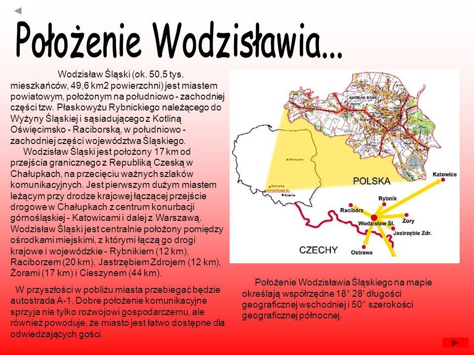 Wodzisław Śląski (ok. 50,5 tys. mieszkańców, 49,6 km2 powierzchni) jest miastem powiatowym, położonym na południowo - zachodniej części tzw. Płaskowyż