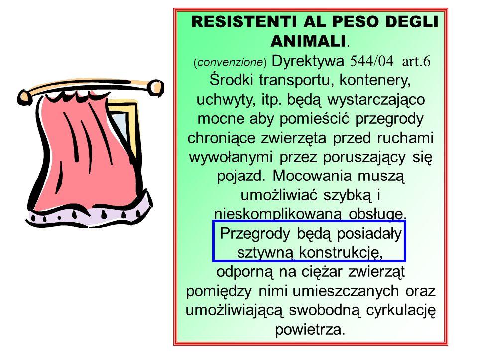 RESISTENTI AL PESO DEGLI ANIMALI. (convenzione) Dyrektywa 544/04 art.6 Środki transportu, kontenery, uchwyty, itp. będą wystarczająco mocne aby pomieś