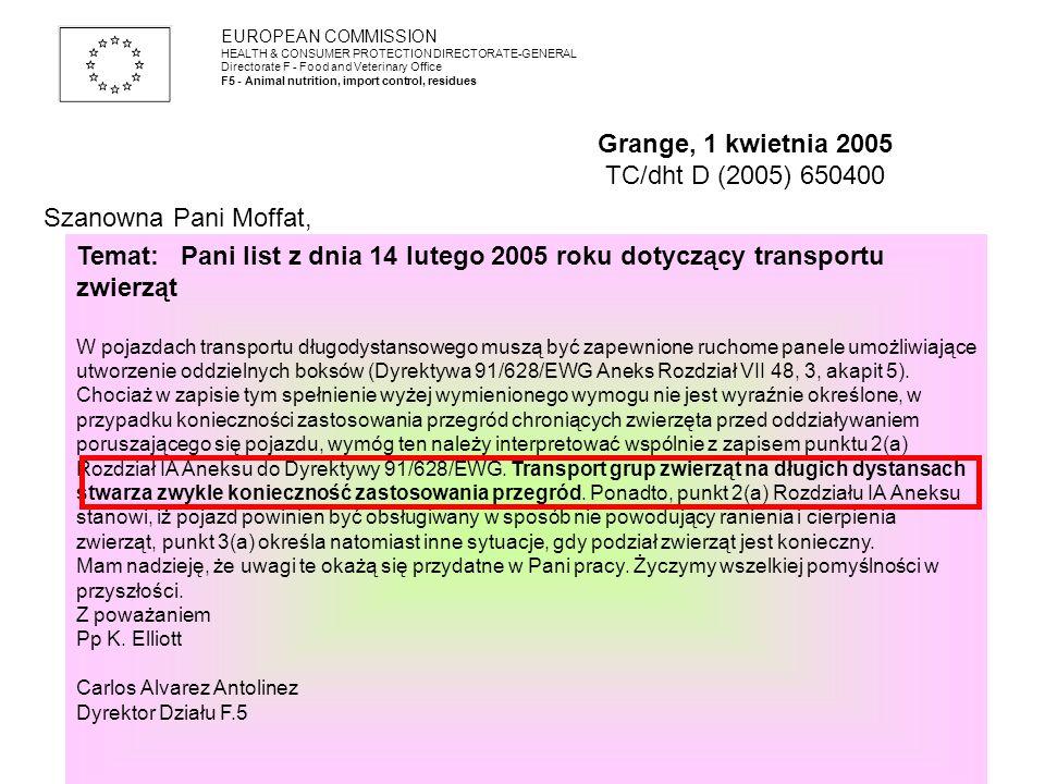 Temat:Pani list z dnia 14 lutego 2005 roku dotyczący transportu zwierząt W pojazdach transportu długodystansowego muszą być zapewnione ruchome panele