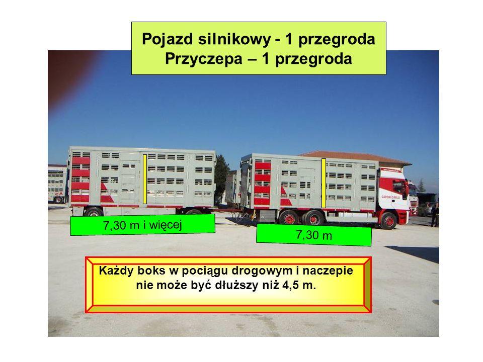 Pojazd silnikowy - 1 przegroda Przyczepa – 1 przegroda 7,30 m 7,30 m i więcej Każdy boks w pociągu drogowym i naczepie nie może być dłuższy niż 4,5 m.