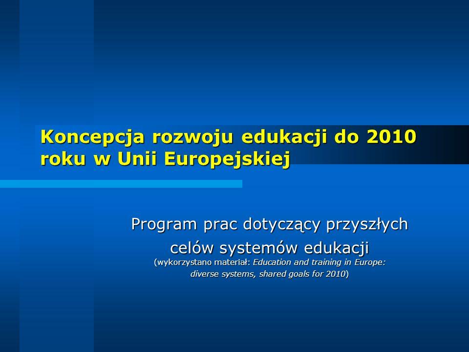 Zbigniew Bury, PCEN Rzeszów 2 Dla dobra obywateli i całej Unii Europejskiej Ministrowie edukacji z krajów UE i Komisja Europejska przyjęli w dniu 14 lutego 2002 roku program dotyczący rozwoju systemów edukacji w krajach UE, z zamierzeniem zrealizowania do roku 2010 następujących celów: osiągnąć w Europie najwyższy poziom edukacji, tak aby mogła ona stanowić wzór dla całego świata pod względem jakości i użyteczności społecznej; osiągnąć w Europie najwyższy poziom edukacji, tak aby mogła ona stanowić wzór dla całego świata pod względem jakości i użyteczności społecznej; zapewnić kompatybilność systemów edukacyjnych, umożliwiającą obywatelom swobodny wybór miejsc kształcenia, a następnie pracy; zapewnić kompatybilność systemów edukacyjnych, umożliwiającą obywatelom swobodny wybór miejsc kształcenia, a następnie pracy; uznawać w Unii Europejskiej kwalifikacje szkolne i zawodowe, wiedzę i umiejętności zdobyte w poszczególnych krajach UE; uznawać w Unii Europejskiej kwalifikacje szkolne i zawodowe, wiedzę i umiejętności zdobyte w poszczególnych krajach UE; zagwarantować Europejczykom - niezależnie od wieku - możliwość uczenia się przez całe życie (kształcenie ustawiczne); zagwarantować Europejczykom - niezależnie od wieku - możliwość uczenia się przez całe życie (kształcenie ustawiczne); otworzyć Europę - dla obopólnych korzyści - na współpracę z innymi regionami, tak aby stała się miejscem najbardziej atrakcyjnym dla studentów, nauczycieli akademickich i naukowców z całego świata.