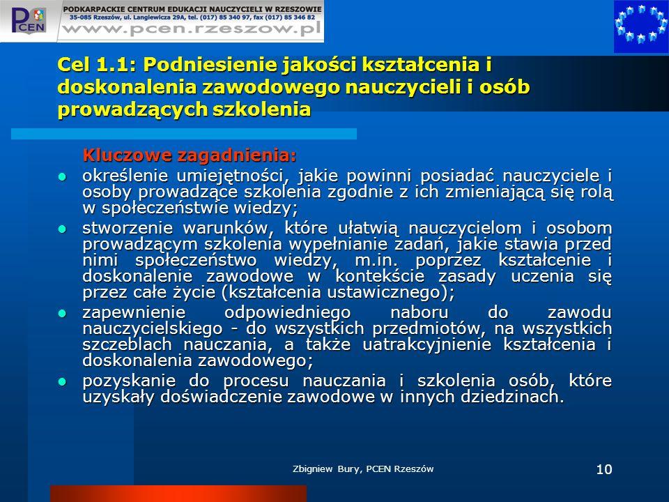 Zbigniew Bury, PCEN Rzeszów 10 Cel 1.1: Podniesienie jakości kształcenia i doskonalenia zawodowego nauczycieli i osób prowadzących szkolenia Kluczowe