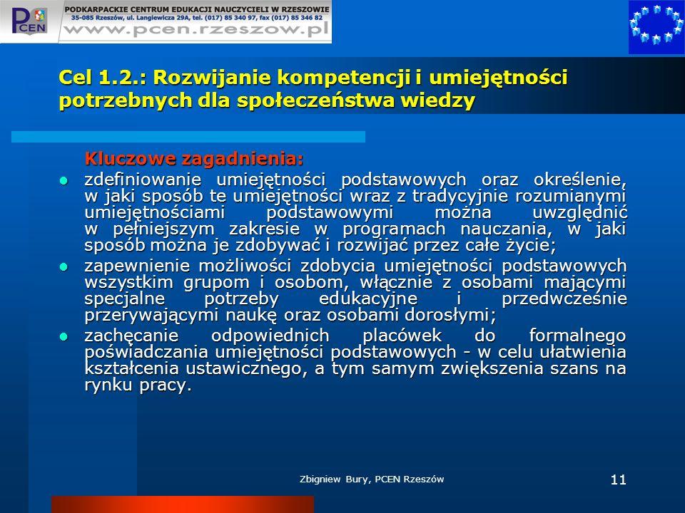 Zbigniew Bury, PCEN Rzeszów 11 Cel 1.2.: Rozwijanie kompetencji i umiejętności potrzebnych dla społeczeństwa wiedzy Kluczowe zagadnienia: zdefiniowani