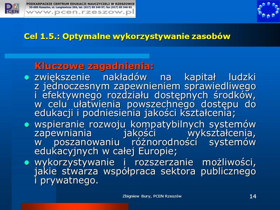 Zbigniew Bury, PCEN Rzeszów 14 Cel 1.5.: Optymalne wykorzystywanie zasobów Kluczowe zagadnienia: zwiększenie nakładów na kapitał ludzki z jednoczesnym