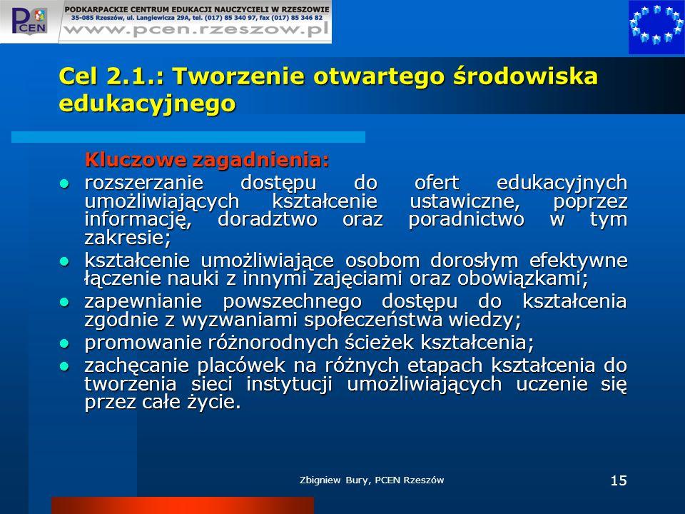 Zbigniew Bury, PCEN Rzeszów 15 Cel 2.1.: Tworzenie otwartego środowiska edukacyjnego Kluczowe zagadnienia: rozszerzanie dostępu do ofert edukacyjnych