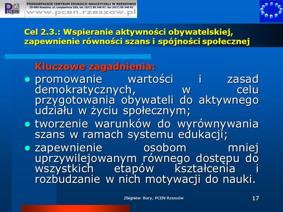 Zbigniew Bury, PCEN Rzeszów 17 Cel 2.3.: Wspieranie aktywności obywatelskiej, zapewnienie równości szans i spójności społecznej Kluczowe zagadnienia: