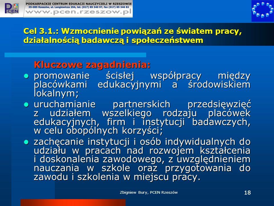 Zbigniew Bury, PCEN Rzeszów 18 Cel 3.1.: Wzmocnienie powiązań ze światem pracy, działalnością badawczą i społeczeństwem Kluczowe zagadnienia: promowan