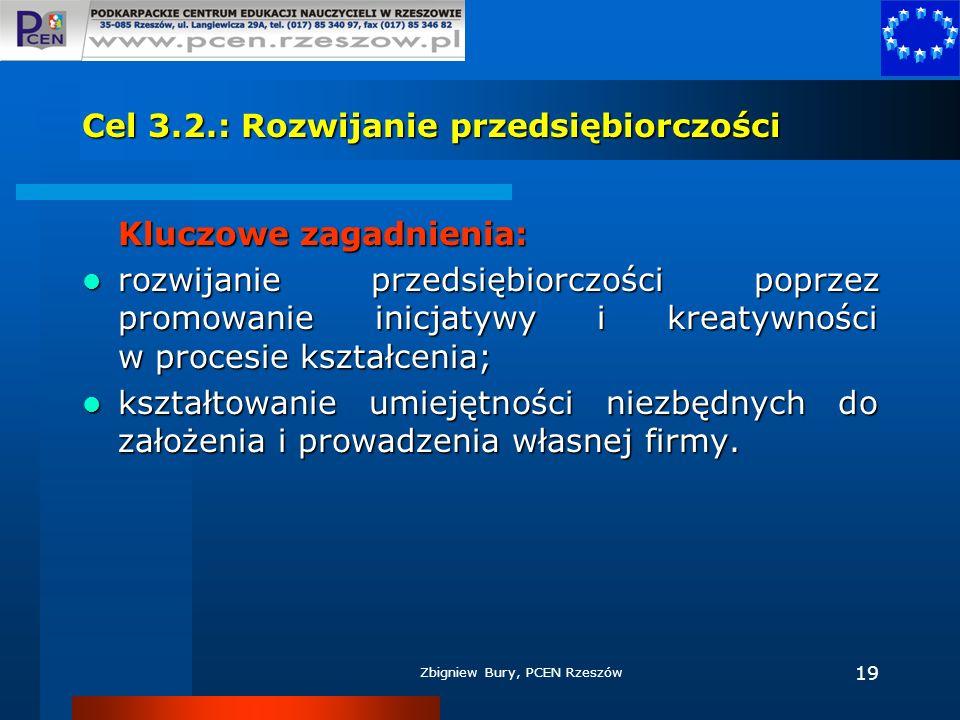 Zbigniew Bury, PCEN Rzeszów 19 Cel 3.2.: Rozwijanie przedsiębiorczości Kluczowe zagadnienia: rozwijanie przedsiębiorczości poprzez promowanie inicjaty