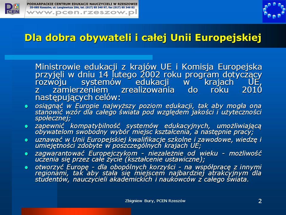 Zbigniew Bury, PCEN Rzeszów 2 Dla dobra obywateli i całej Unii Europejskiej Ministrowie edukacji z krajów UE i Komisja Europejska przyjęli w dniu 14 l