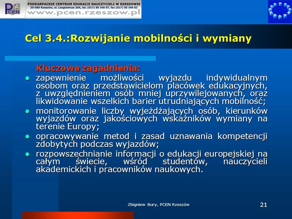 Zbigniew Bury, PCEN Rzeszów 21 Cel 3.4.:Rozwijanie mobilności i wymiany Kluczowe zagadnienia: zapewnienie możliwości wyjazdu indywidualnym osobom oraz