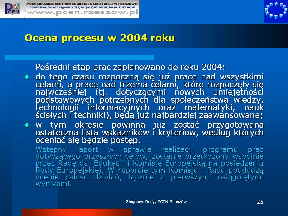 Zbigniew Bury, PCEN Rzeszów 25 Ocena procesu w 2004 roku Pośredni etap prac zaplanowano do roku 2004: do tego czasu rozpoczną się już prace nad wszyst