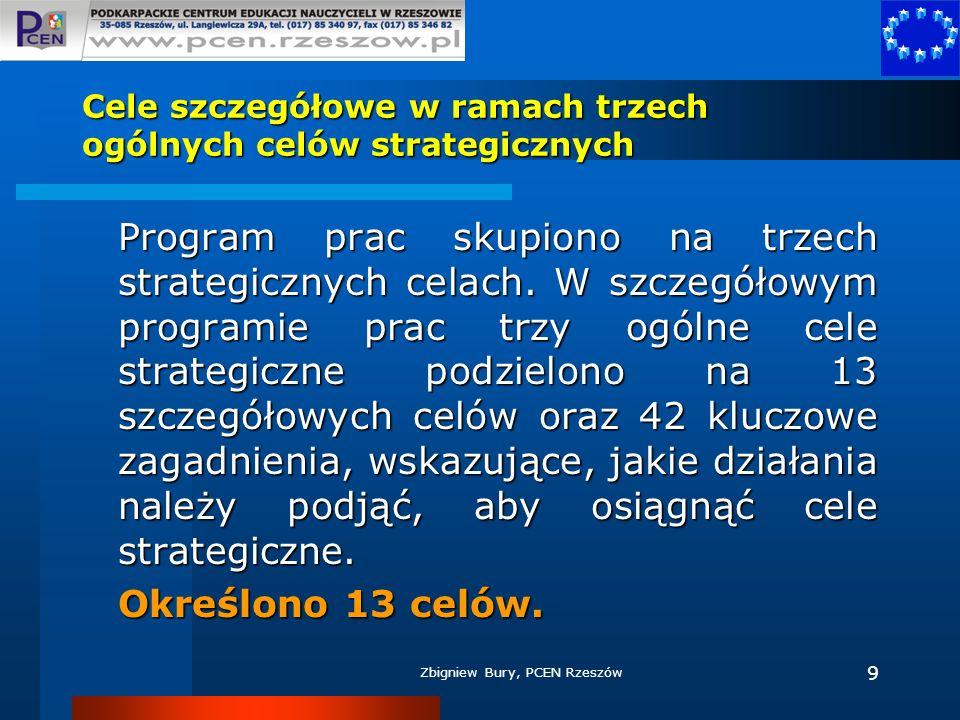 Zbigniew Bury, PCEN Rzeszów 9 Cele szczegółowe w ramach trzech ogólnych celów strategicznych Program prac skupiono na trzech strategicznych celach. W