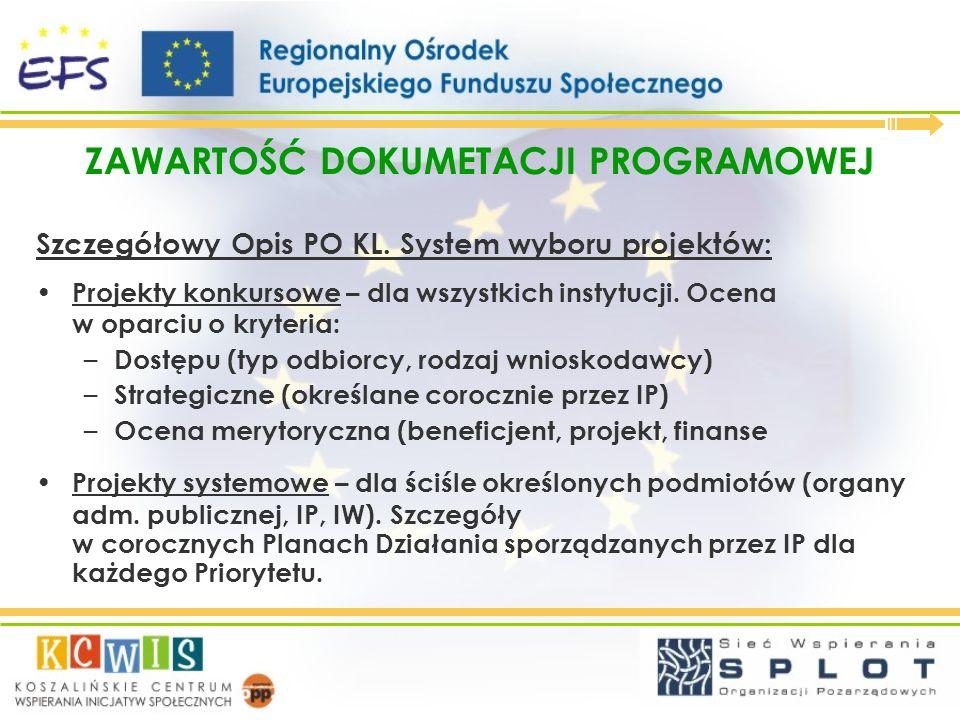 ZAWARTOŚĆ DOKUMETACJI PROGRAMOWEJ Wzór wniosku o dofinansowanie realizacji projektu: obecnie w fazie konsultacji wersja nr: 2.01 z lutego 2007 (POKL@mrr.gov.pl).