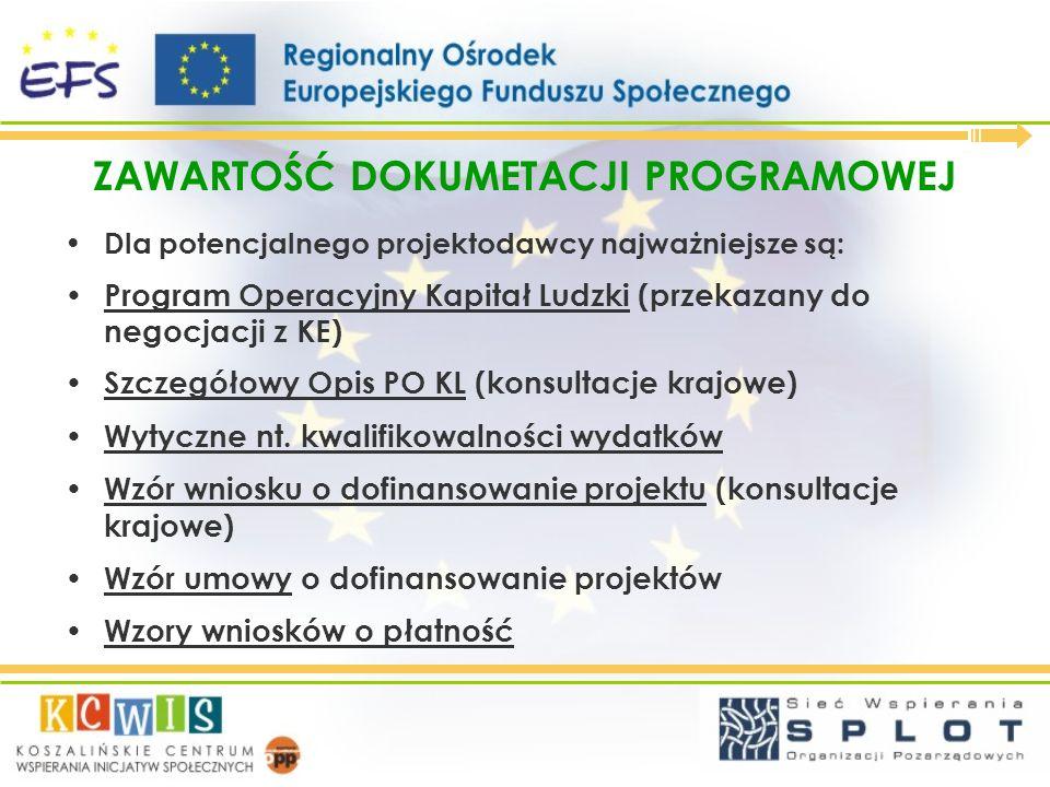 ZAWARTOŚĆ DOKUMETACJI PROGRAMOWEJ Program Operacyjny Kapitał Ludzki: Diagnoza społeczno-ekonomiczna Dotychczasowa pomoc z UE Cele Programu Priorytety i obszary wsparcia Wdrażanie i finansowanie Programu