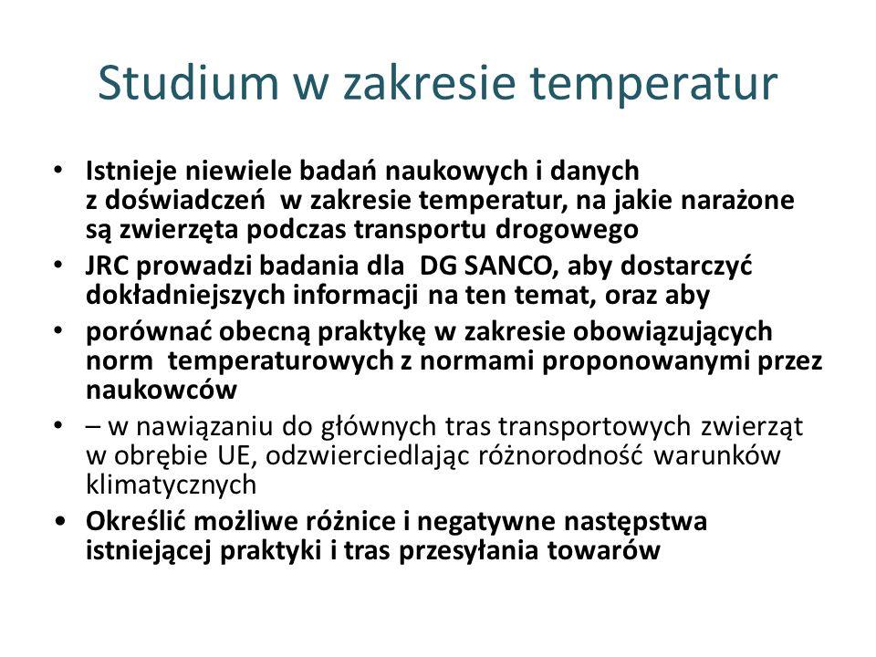 Studium w zakresie temperatur Istnieje niewiele badań naukowych i danych z doświadczeń w zakresie temperatur, na jakie narażone są zwierzęta podczas t