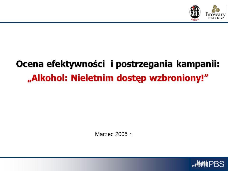 Raport PBS OCENA KAMPANII 1 Ocena efektywności i postrzegania kampanii: Alkohol: Nieletnim dostęp wzbroniony! Marzec 2005 r.