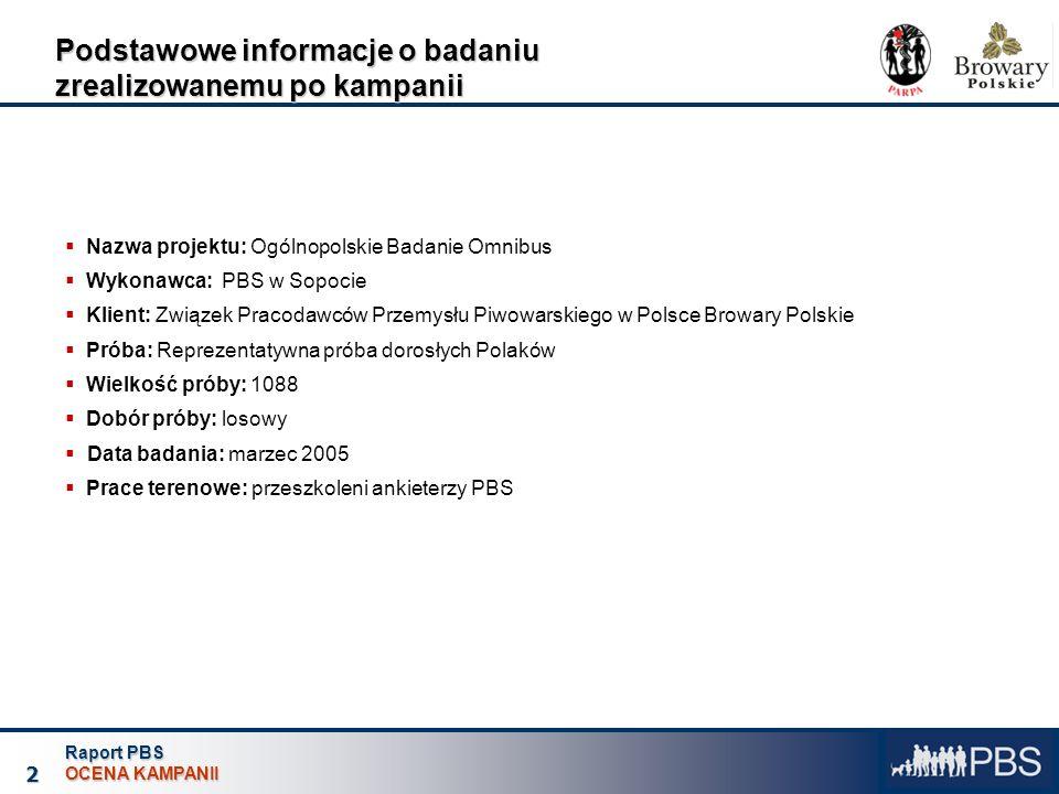 Raport PBS OCENA KAMPANII 2 Podstawowe informacje o badaniu zrealizowanemu po kampanii Nazwa projektu: Ogólnopolskie Badanie Omnibus Wykonawca: PBS w