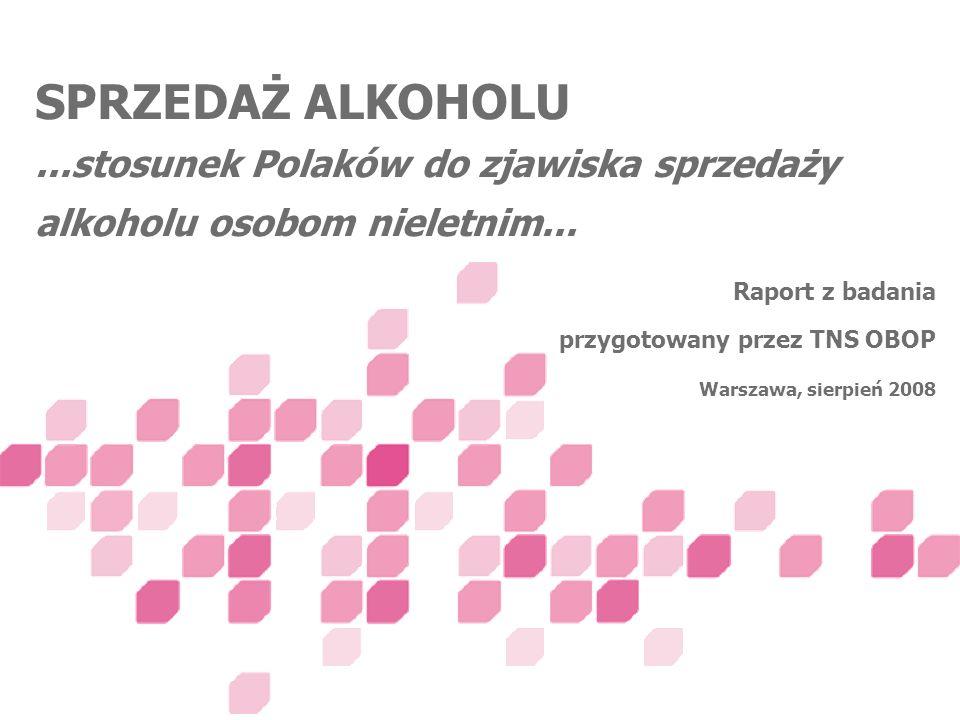 Raport z badania przygotowany przez TNS OBOP Warszawa, sierpień 2008 SPRZEDAŻ ALKOHOLU...stosunek Polaków do zjawiska sprzedaży alkoholu osobom nielet