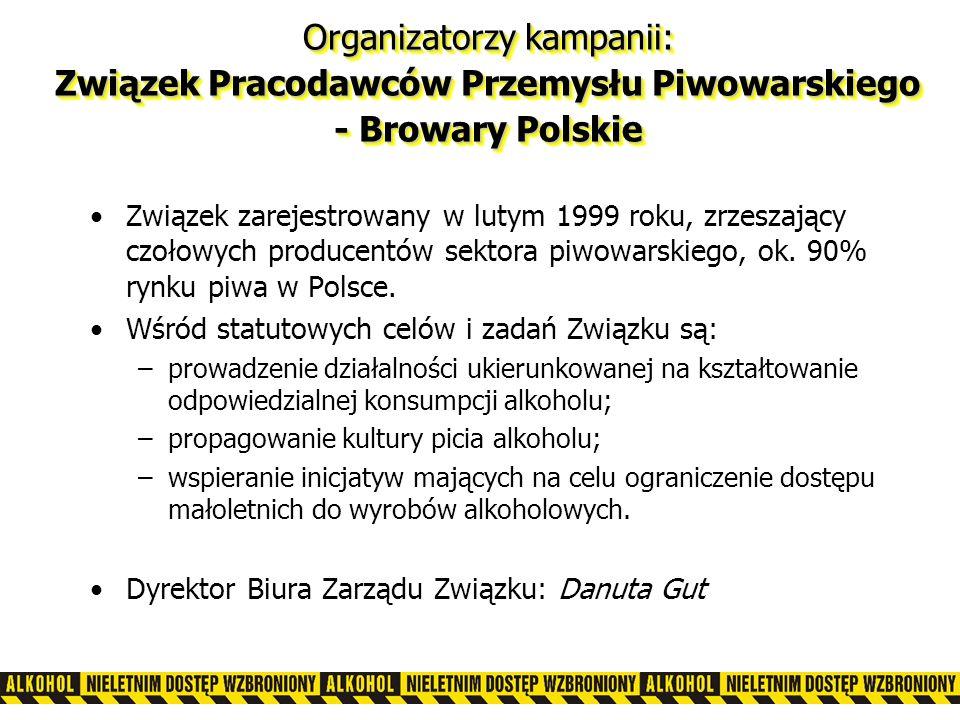 Organizatorzy kampanii: Związek Pracodawców Przemysłu Piwowarskiego - Browary Polskie Związek zarejestrowany w lutym 1999 roku, zrzeszający czołowych producentów sektora piwowarskiego, ok.