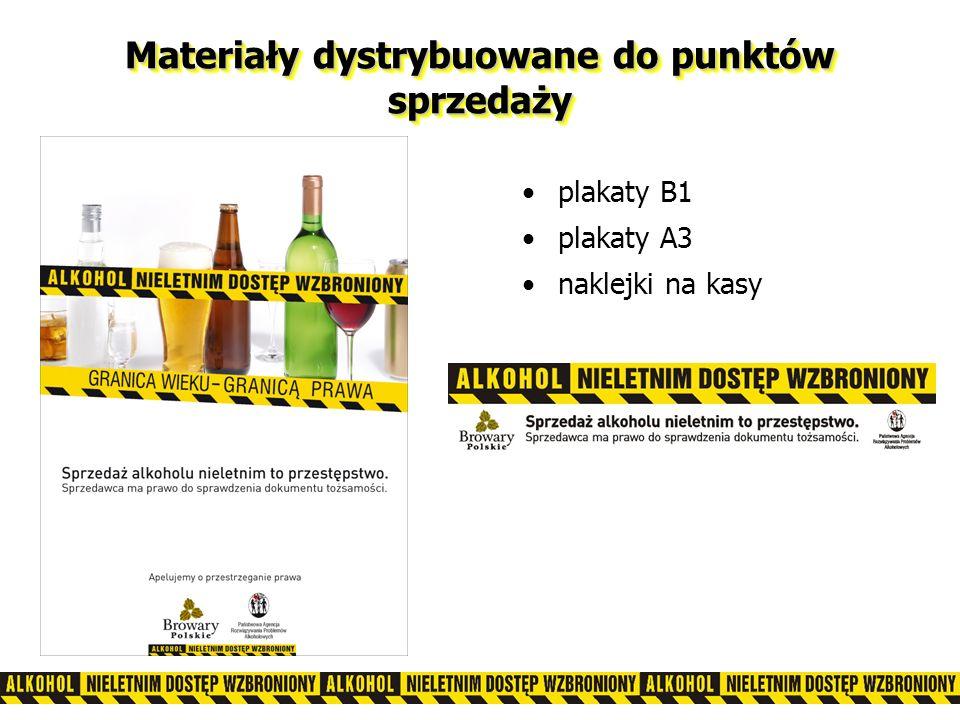 Materiały dystrybuowane do punktów sprzedaży plakaty B1 plakaty A3 naklejki na kasy