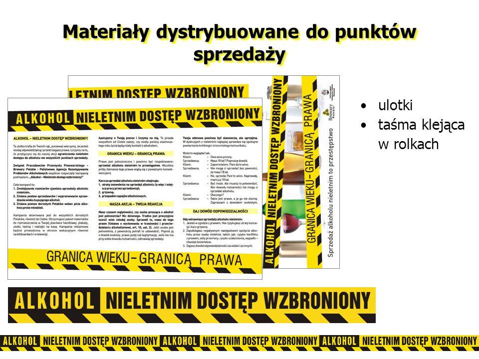 Materiały dystrybuowane do punktów sprzedaży ulotki taśma klejąca w rolkach
